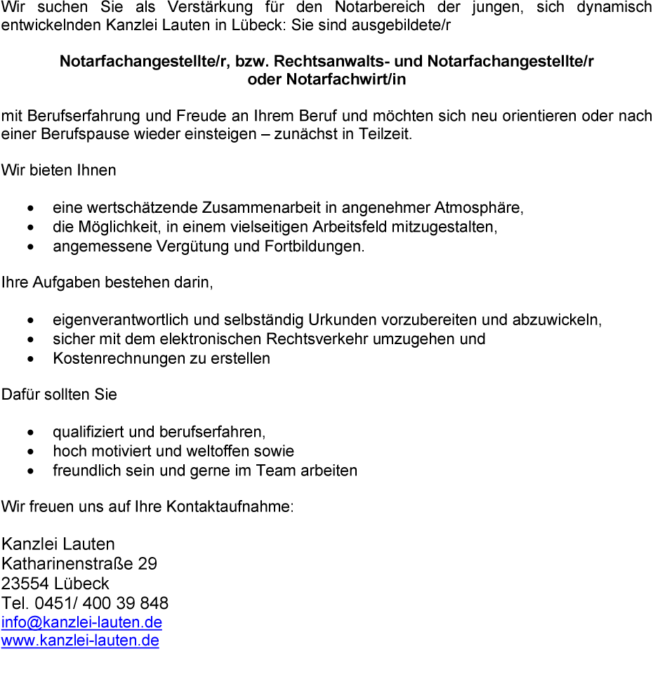 Jobbörse Lübeck Stellenangebote